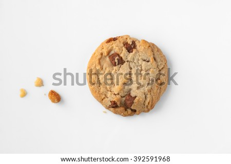 Cookie : Delicious homemade round milk chocolate chip macadamia cookie with a few crumbs on white - stock photo