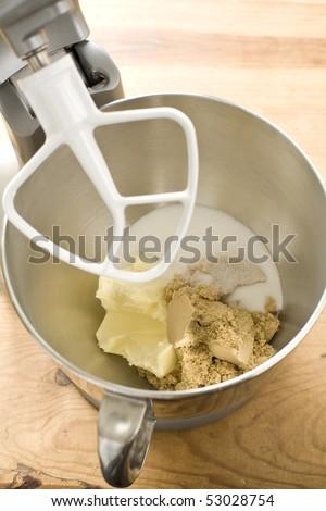 Cookie dough ingredients in mixer - stock photo