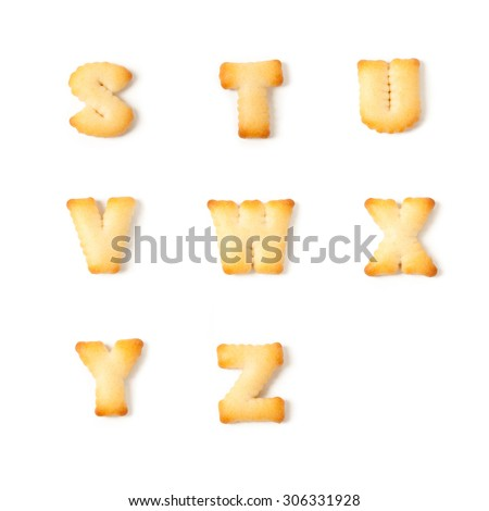 cookie font alphabet S,T,U,V,W,X,Y,Z isolated on white background. - stock photo