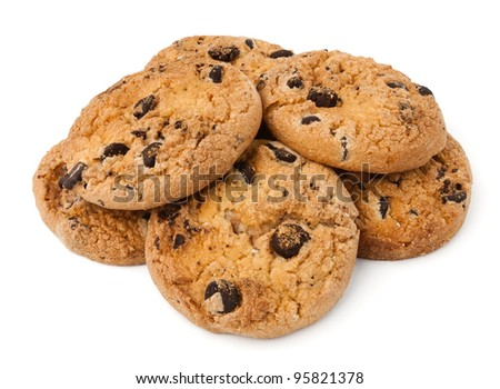 cookie heap against white background - stock photo