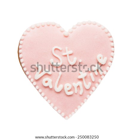 Cookie in shape of heart isolated on white background for Valentine's Day. - stock photo
