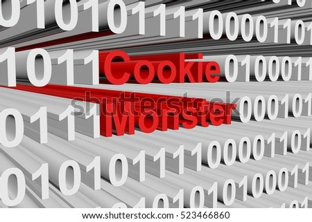 Cookie Monster in the form of binary code, 3D illustration