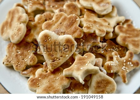 cookie on the wooden table - stock photo