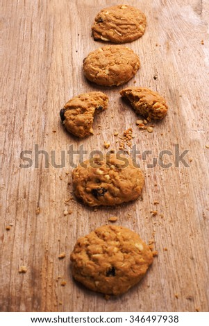 Cookie on wooden background