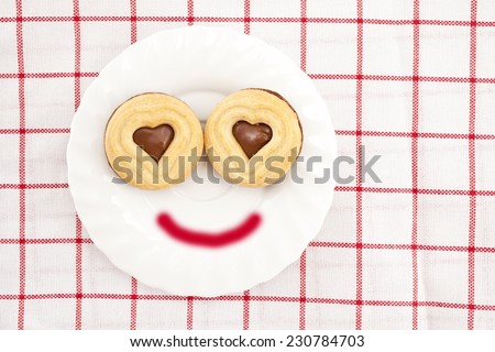 Cookie with chocolate cream,smile concept