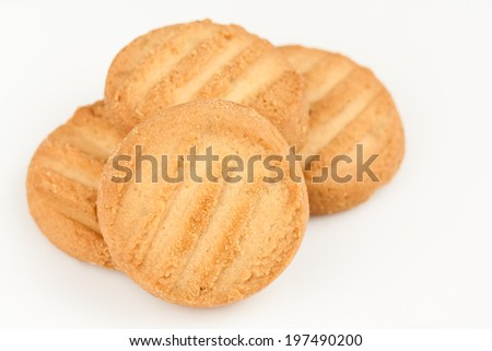 Cookies - A set of fresh, homemade cookies set on a white background. - stock photo
