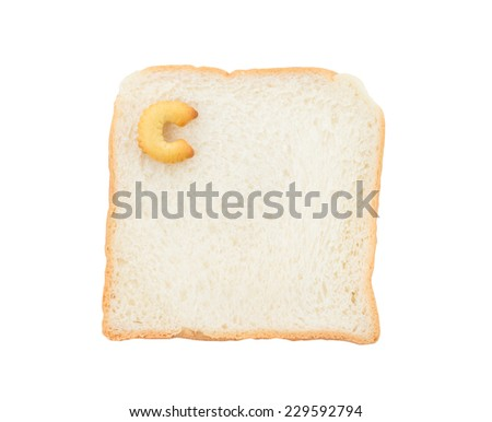 Cookies ABC with bread containing letters - C,  isolated on white background
