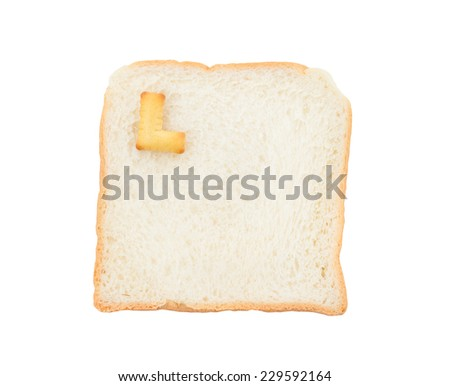 Cookies ABC with bread containing letters - L,  isolated on white background