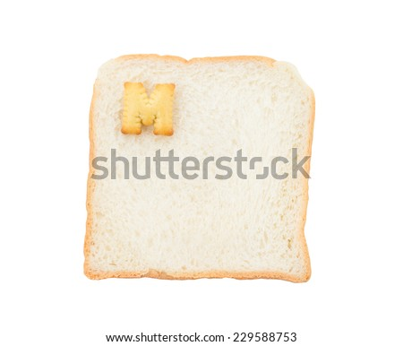 Cookies ABC with bread containing letters - M,  isolated on white background