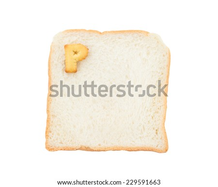 Cookies ABC with bread containing letters - P,  isolated on white background