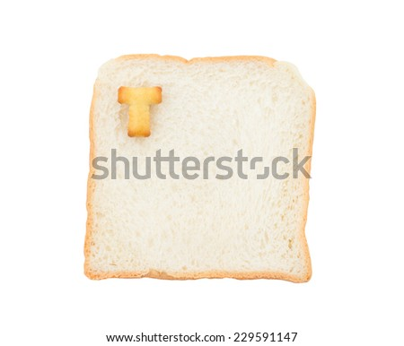 Cookies ABC with bread containing letters - T,  isolated on white background