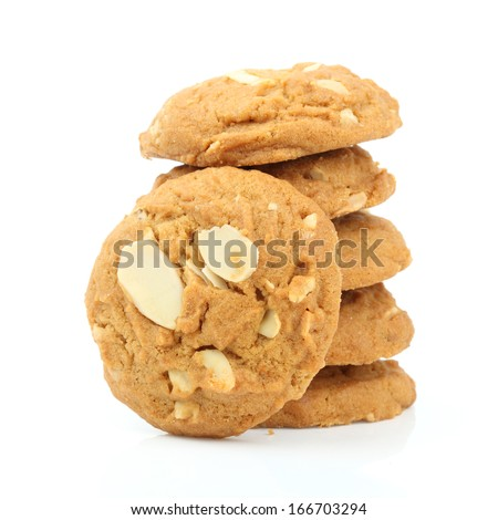cookies almond on white background - stock photo