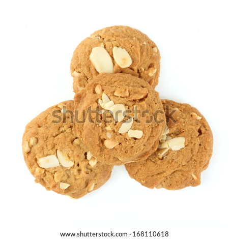 cookies almond on white background