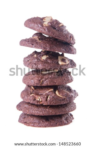 cookies. Almonds chocolate chips cookies on background - stock photo