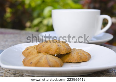 cookies an cup of coffee - stock photo
