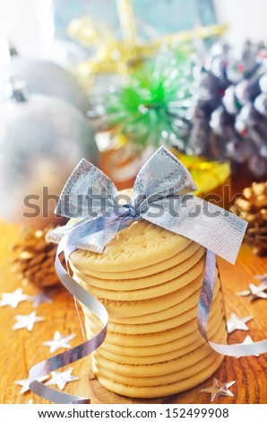 cookies and christmas decoration - stock photo