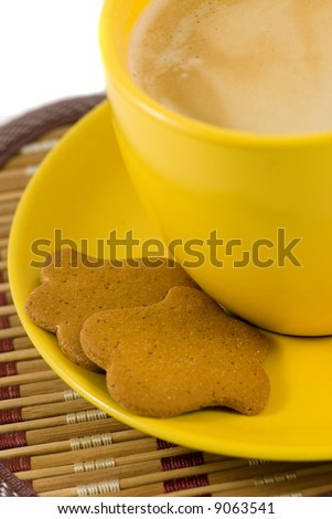 Cookies  and cup of coffee isolated on a white background.