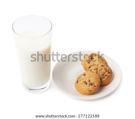 Cookies and glass of milk composition isolated over the white background - stock photo