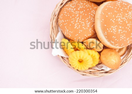 cookies and hamburger in basket