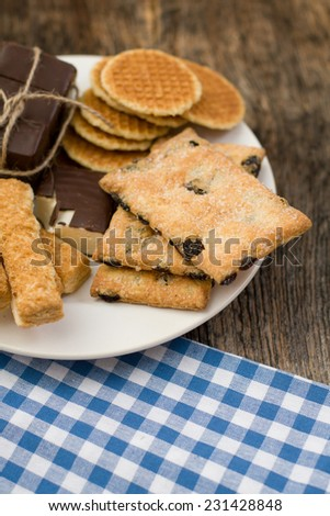 Cookies assortment on the dish - stock photo