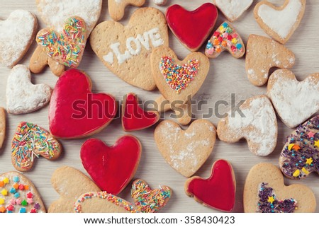 Cookies Background for Valentines day postcard