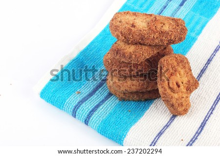 Cookies biscuits isolated on white background. - stock photo