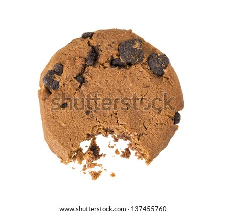 cookies bite isolated on white background - stock photo