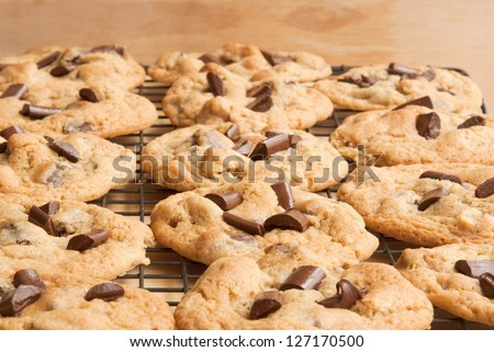 cookies chocolate chip cookies on a cooling rack. Selective focus on bottom half of image. - stock photo