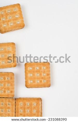 Cookies closeup isolated on te white backing - stock photo