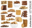 Cookies collection on a white background - stock photo