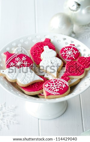 Cookies decorated with a Christmas theme - stock photo