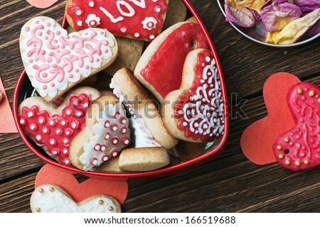cookies in a box in the form of baked hearts for Valentine's day - stock photo