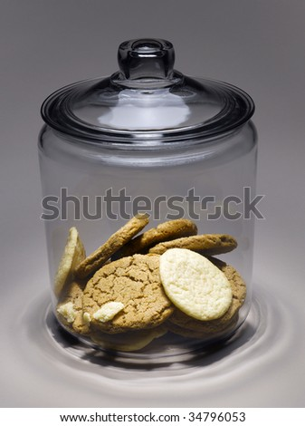 Cookies in cookie jar - stock photo
