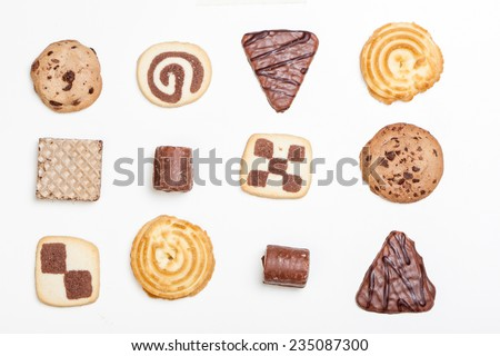 Cookies in different shapes and forms, variety isolated on white background. - stock photo