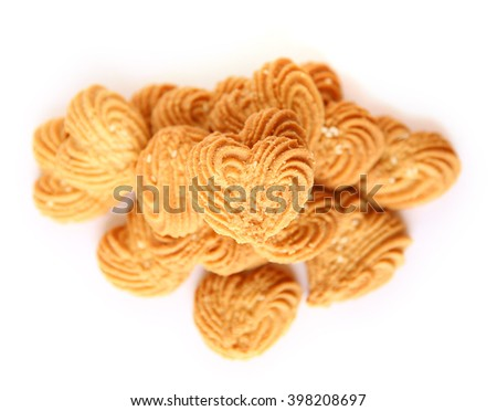 Cookies in heart shape on White background