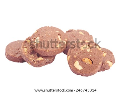 cookies in stack isolated on white  - stock photo