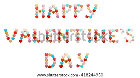 Cookies inscription Happy Valentine's Day, isolated on white - stock photo