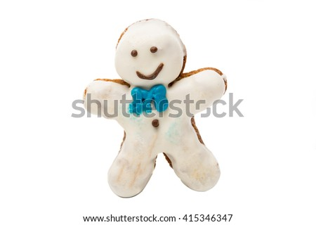 cookies man in the glaze on a white background