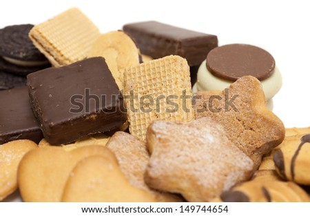 cookies mix group on white background - stock photo