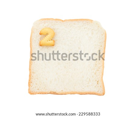 Cookies numbers with bread containing letters - 2,  isolated on white background