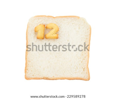 Cookies numbers with bread containing letters - 12,  isolated on white background