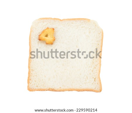 Cookies numbers with bread containing letters - 4,  isolated on white background