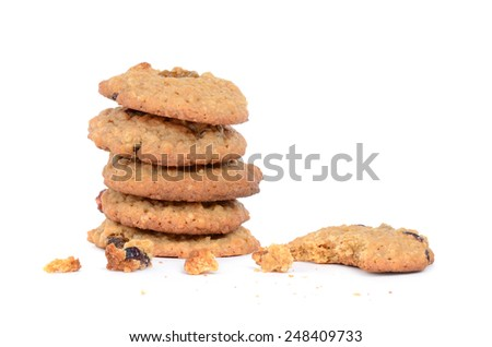 cookies oatmeal cranberry raisin isolated on white background