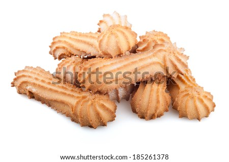 cookies on a white background, crumbly cookies on white background
