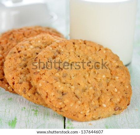 Cookies on a white table close up