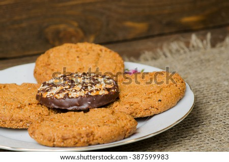 cookies on a wooden background as a background.Rustic style.