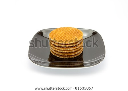 cookies on plate isolated on white background