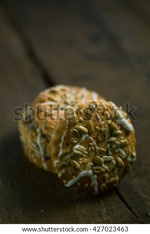 Cookies on wood background photo