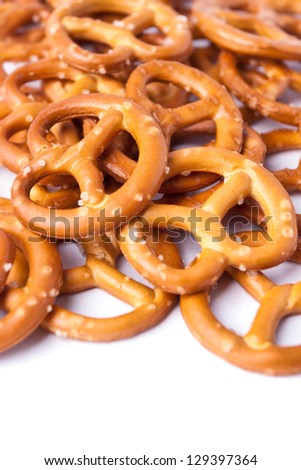 Cookies pretzels on a white background - stock photo
