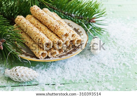 cookies . sweet rolls with sesame seeds on the christmas table. holidays and events concept.selective focus - stock photo